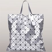 Monica Faux Leather Tote Silver