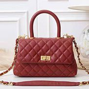 Nicola Top Handle And Shoulder Lambskin Mini Bag Burgundy