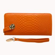 The Coralie Wallet Croc Leather Orange