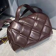 Mia Padded Leather Top Handle Bag Chocolate