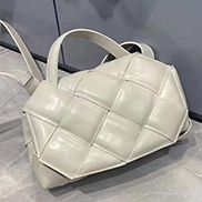 Mia Padded Leather Top Handle Bag Cream