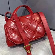 Mia Padded Leather Top Handle Bag Red