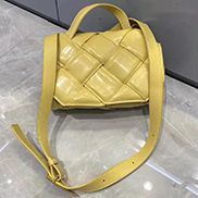 Mia Padded Leather Top Handle Bag Yellow