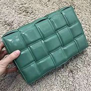 Mia Plaid Square Leather Medium Shoulder Bag Forest Green