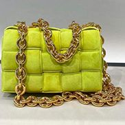 Mia Leather Chain Medium Shoulder Suede Bag Yellow