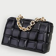 Mia Leather Chain Medium Shoulder Bag Black Gold