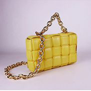 Mia Leather Chain Medium Shoulder Bag Bright Yellow