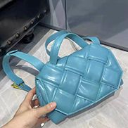 Mia Padded Leather Top Handle Bag Blue