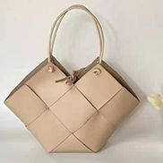 Mia Medium Leather Tote Bag Beige