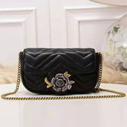 Paulette Small Flap Bag Leather Black