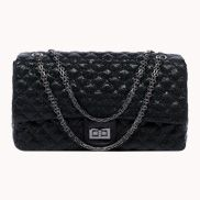 Adele Flap Bag Cowhide Leather Pearl-scale Effect Black