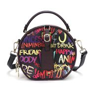 Round Vegan Leather Shoulder Bag Graffiti Black