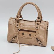 "The Route 66 Faux Croc Leather Tote 9"" Beige"