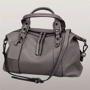 Roxana Leather Shoulder Bag Grey