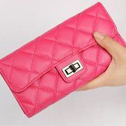 Adele Continental Wallet Lambskin Leather Rose Red