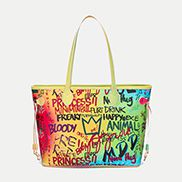 Shipping Tote Bag Vegan Leather Graffiti
