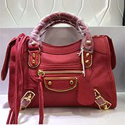 The Route 66 Goatskin Leather Small Bag Red Gold Hardware