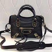 The Route 66 Goatskin Leather Small Bag Black Gold Hardware