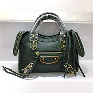 The Route 66 Goatskin Leather Small Bag Green Gold Hardware