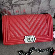 Ingrid V Shape Caviar Leather Flap Red