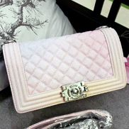 Ingrid Diamond Shape Caviar Leather Flap Bag Light Pink