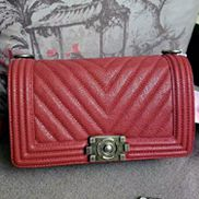 Ingrid V Shape Caviar Leather Flap Dark Red