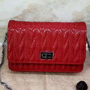 Adeline Matelasse Leather Shoulder Bag Red