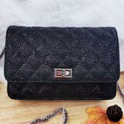 Adeline Pearl fish Leather Diamond shape Shoulder Bag Black