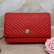 Adeline Grain Leather Mini V shape Shoulder Bag Red