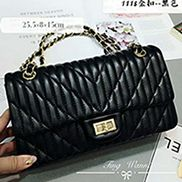 Adele Quilted Lambskin Leather Flap Bag Black