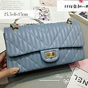 Adele Quilted Lambskin Leather Flap Bag Blue