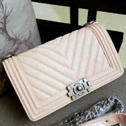 Ingrid V Shape Caviar Leather Flap Beige