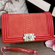 Ingrid Snake Pattern Leather Flap Bag Red