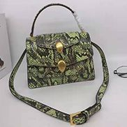 Tanya Double Head Shoulder Snake Leather Bag Green