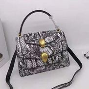 Tanya Double Head Shoulder Snake Leather Bag Grey