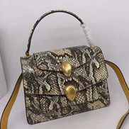Tanya Double Head Shoulder Snake Leather Bag Yellow