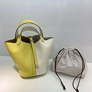 Theresa Bicolor Leather Bag Yellow White