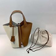 Theresa Bicolor Leather Bag White Camel