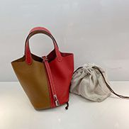 Theresa Bicolor Leather Bag Camel Red