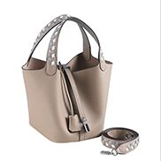 Theresa Palmprint Leather Bag Grey
