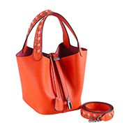 Theresa Palmprint Leather Bag Orange