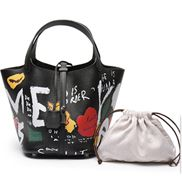 Theresa Leather Bag Graffiti Black