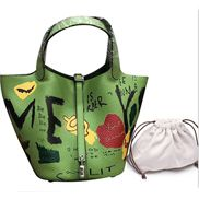 Theresa Leather Bag Graffiti Green