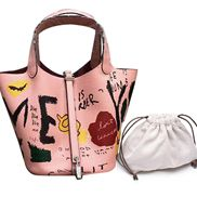 Theresa Leather Bag Graffiti Pink
