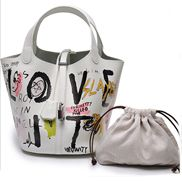 Theresa Leather Bag Graffiti White Black