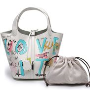 Theresa Leather Bag Graffiti White Blue