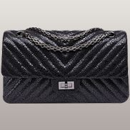 Adele V Shape Pearlfish Scales Effect Leather Flap Bag Black