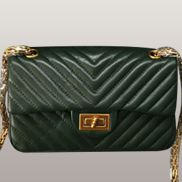 Adele V Shape Quilted Leather Flap Bag Green
