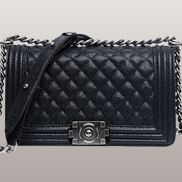 Ingrid Diamond Shape Caviar Leather Flap Black