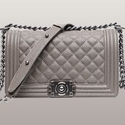 Ingrid Diamond Shape Caviar Leather Flap Grey